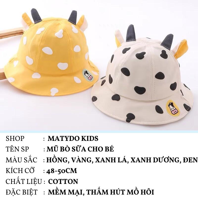 Mũ vành cho bé nón trẻ em dễ thương mũ cho bé gái bé trai mũ bucket bò sữa đáng yêu