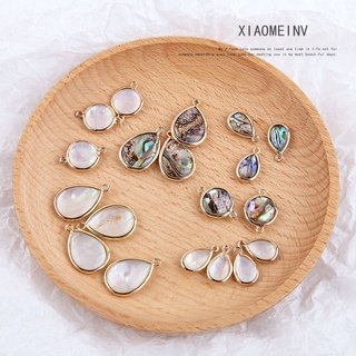 DIYHandmade Jewelry Accessories Vintage Copper Edging Embedded Abalone round Double Racks Water-Drop Eardrops Necklace Material