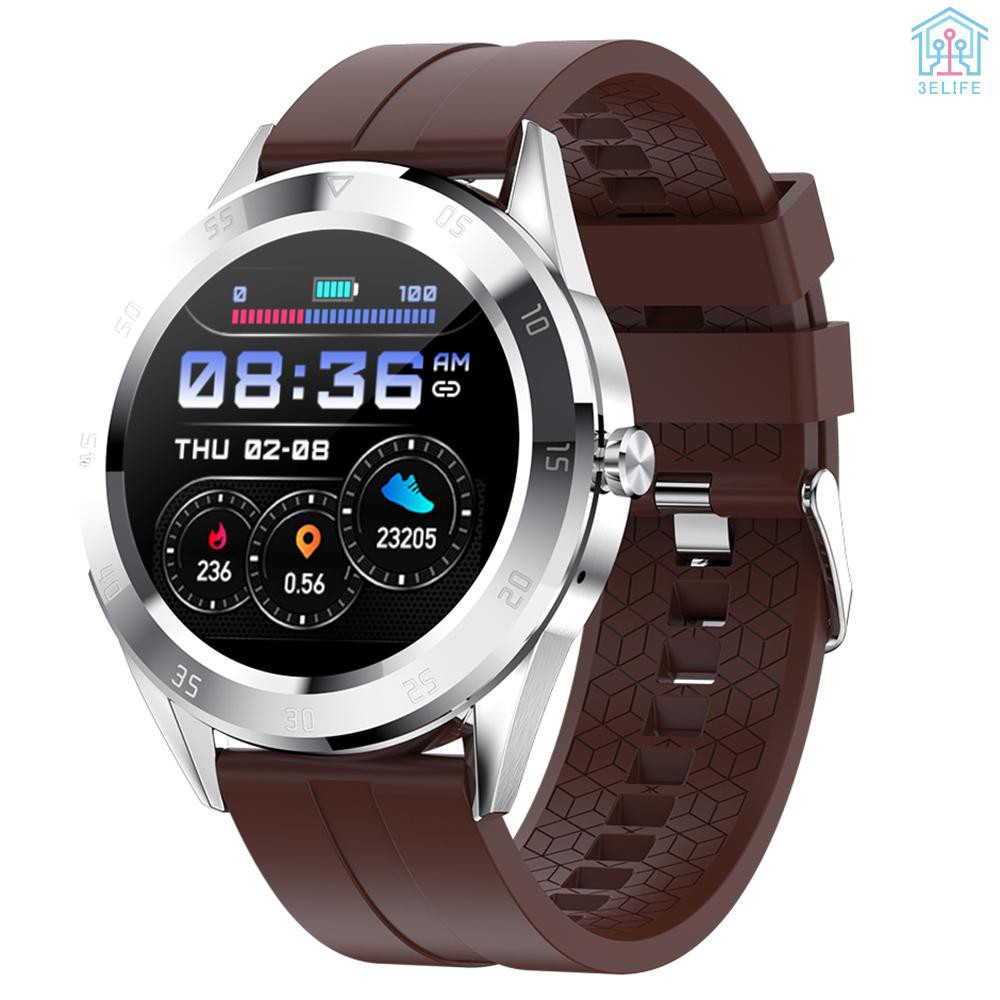 【E&V】Multi-function Large Screen Waterproof Intelligent Watch BT Call Message Reminder Sport Record Health Monitor (Brown)