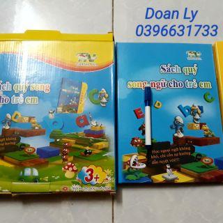 Sách nói song ngữ cho bé tặng bộ 3 sách tập tô tự xóa