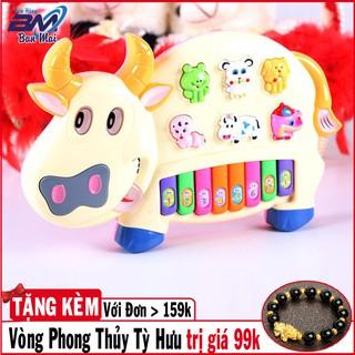 [Chất Lượng]Đồ chơi đàn piano hình chú bò sữa có đèn nhấp nháy sinh động cho bé yêu (màu xanh)
