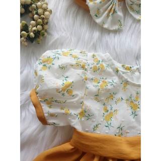 Đầm vàng phối hạt cho bé gái từ 4-30kg tặng kèm tuban cho bé
