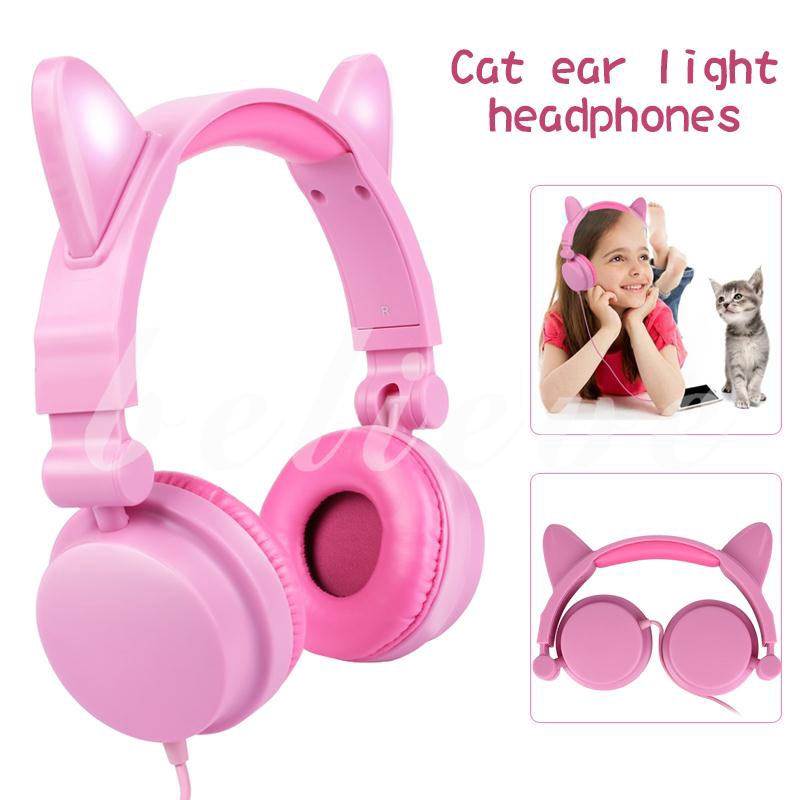 Headphone Headset Cat Ears Headband Receiver Gleamy Girl Lights Giá chỉ 415.920₫