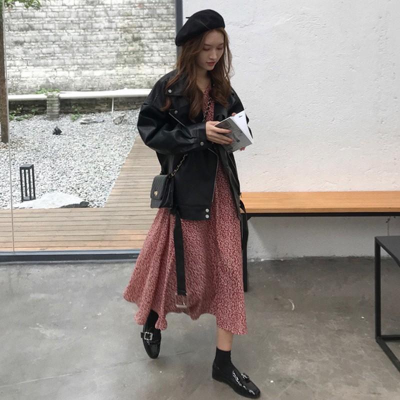 Korean style women's fashion leather jacket
