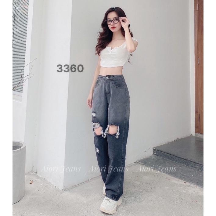 Quần Jeans Nữ, Quần Suông Jeans Ống Rộng Rách Gối Màu Xám, Chất Jeans Cotton Cực Xịn Vải Thoáng Mát, Mềm Mịn, Mã 3360
