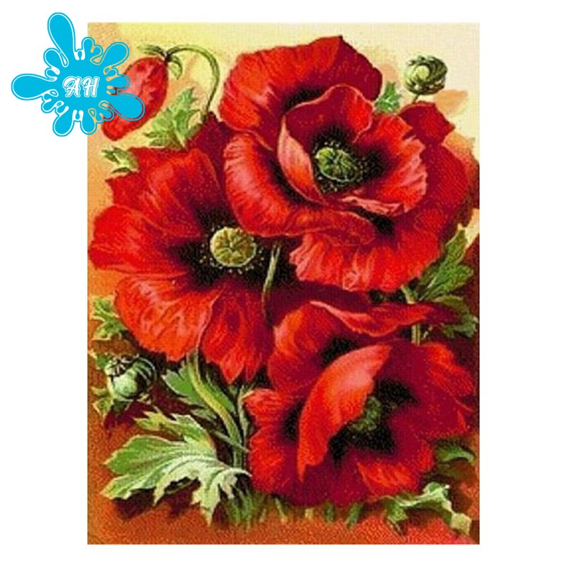 100% Full Round Drill DIY Full Drill Poppy Flower Diamond Embroidery