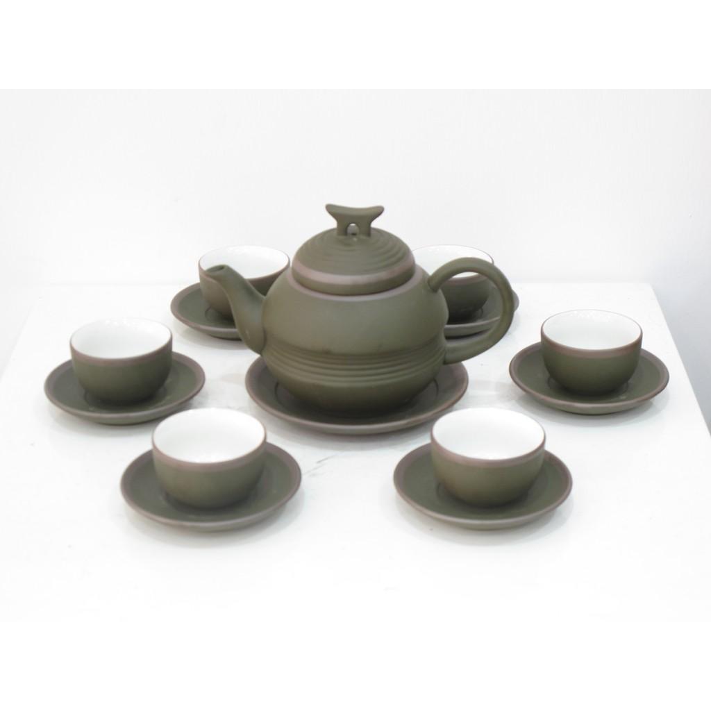 Bộ ấm trà gốm xanh eo