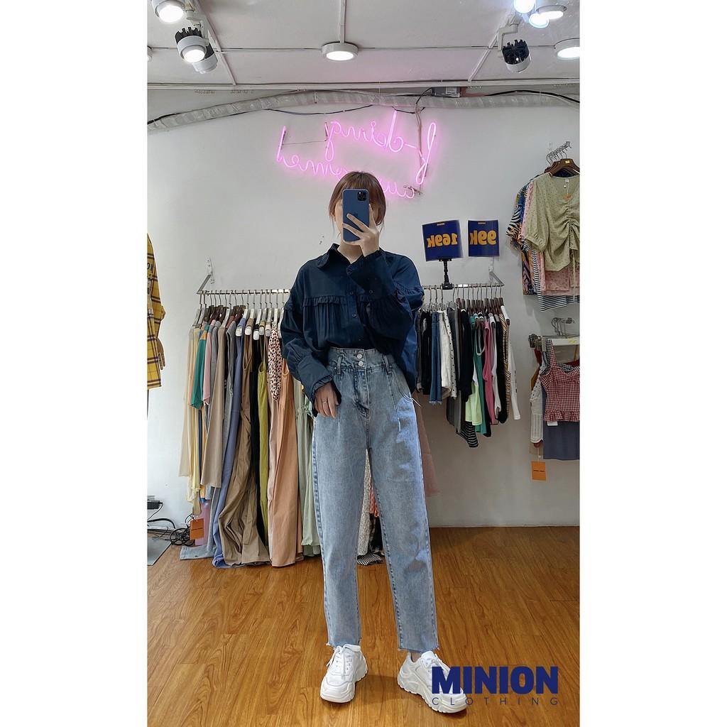 Quần baggy jeans Minion Clothing tua rua gấu, cạp lưng cao, phong cách Ulzzang Streetwear Q2321