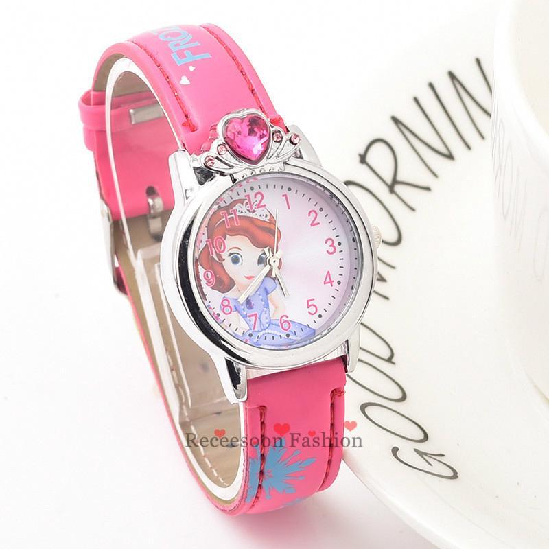 Đồng hồ dây da trang trí mặt họa tiết hoạt hình xinh xắn