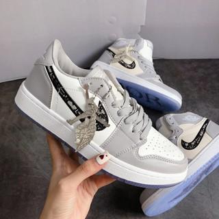 Giày Jordan dior Cổ Thấp , Giày JD 1 Xám Trắng Low Siêu Đẹp, Giá Siêu Rẻ, Full Size 36-43. thumbnail
