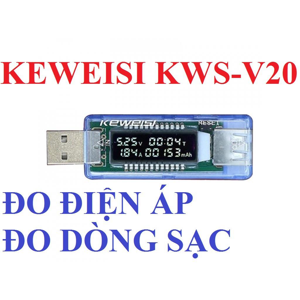 USB TESTER KEWEISI KWS-V20 USB ĐO ĐIỆN ÁP USB ĐO DÒNG ĐIỆN SẠC ĐIỆN THOẠI