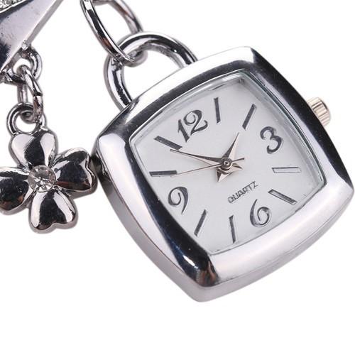 Đồng hồ dạng vòng tay đính đá bằng théo không gỉ cho nữ