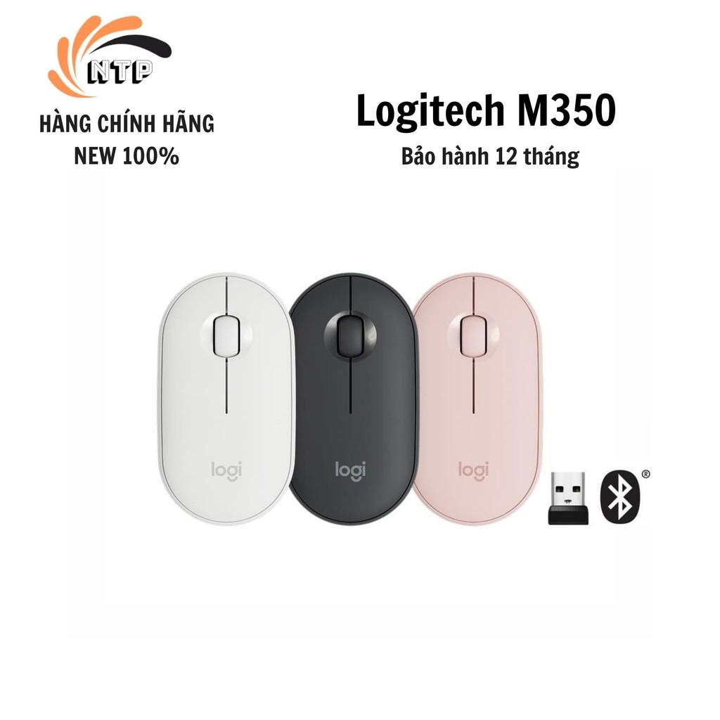 Hàng Chính Hãng] Chuột Logitech Pebble M350 - Kết nối Bluetooth hoặc đầu  thu 2.4 GHz, Yên tĩnh