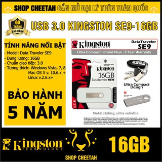 USB 3.0 Kingston 16GB DataTraveler SE9 – Vỏ thép nguyên khối – Chịu va đập – Kháng nước – CHÍNH HÃNG – Bảo hành 5 năm
