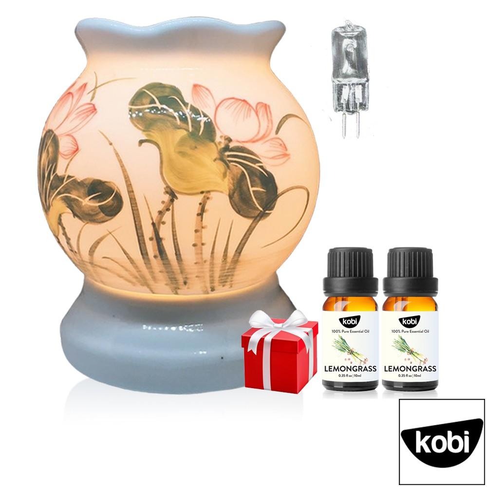 Đèn xông tinh dầu bát tràng giúp đuổi muỗi, chạy bằng điện, làm đèn ngủ, tặng 2 lọ tinh dầu thiên nhiên, bóng dự p