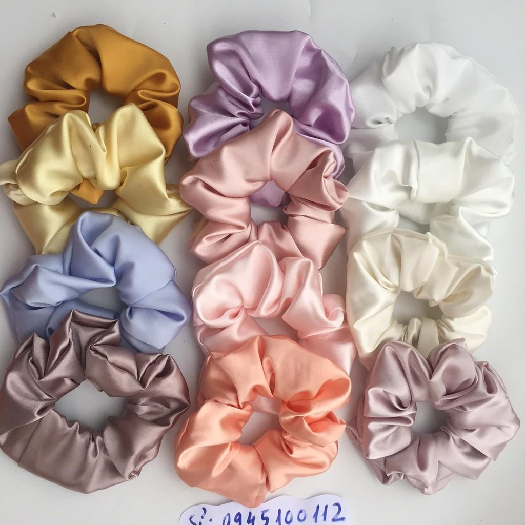 cột tóc vải scrunchies buộc tóc vải trơn bóng loại đẹp hot trend (B3)