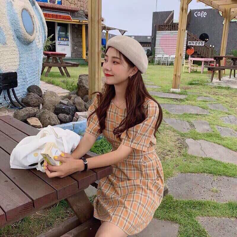 Đầm caro buộc eo nơ sau lưng thời trang cao cấp SUSU_FASHION193