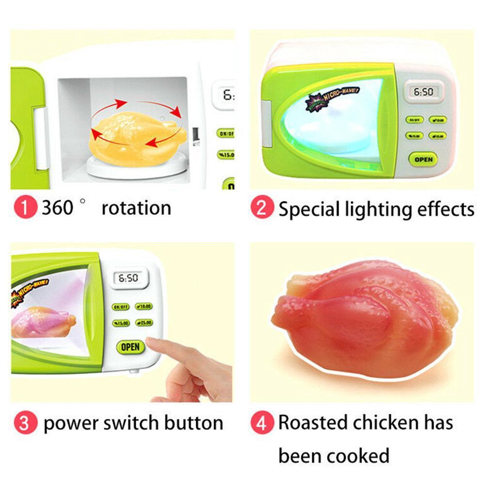 Kids Pretend Play Microwave Oven Mini Kitchen Food Cooking Toy Playset Gift