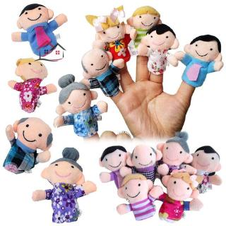 HYP 6 Pcs Finger Family Puppets Cloth Doll Props for Kids Toddlers Educational Toy @VN
