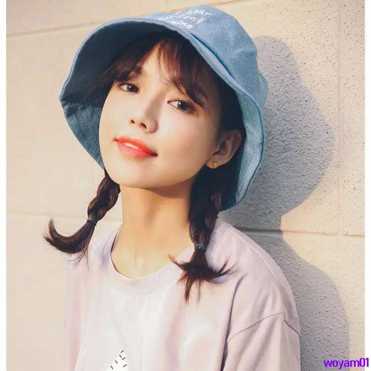 Full 250000 delivery[早安]Washing denim old fisherman hat fresh and versatile Korean men and women models embroidered pot