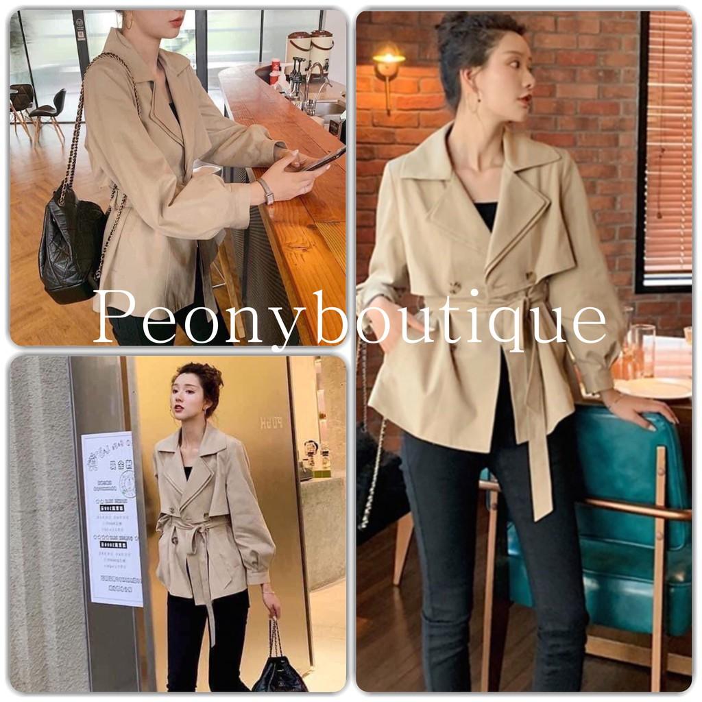 Áo Mangto Kaki JLOVE Nữ 🌸 Áo khoác blazers dáng ngắn cổ vest màu be bánh bèo tiểu thư Ulzzang Hàn Quốc SIÊU HOT 🌸