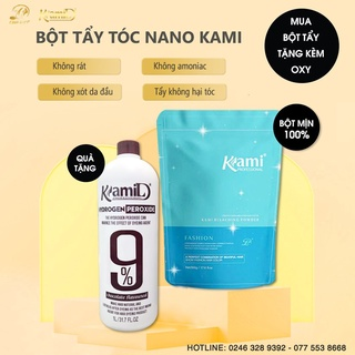 Bột tẩy Nano Kami siêu mạnh,chống xót,chống rát da đầu-TẶNG KÈM OXI KAMI