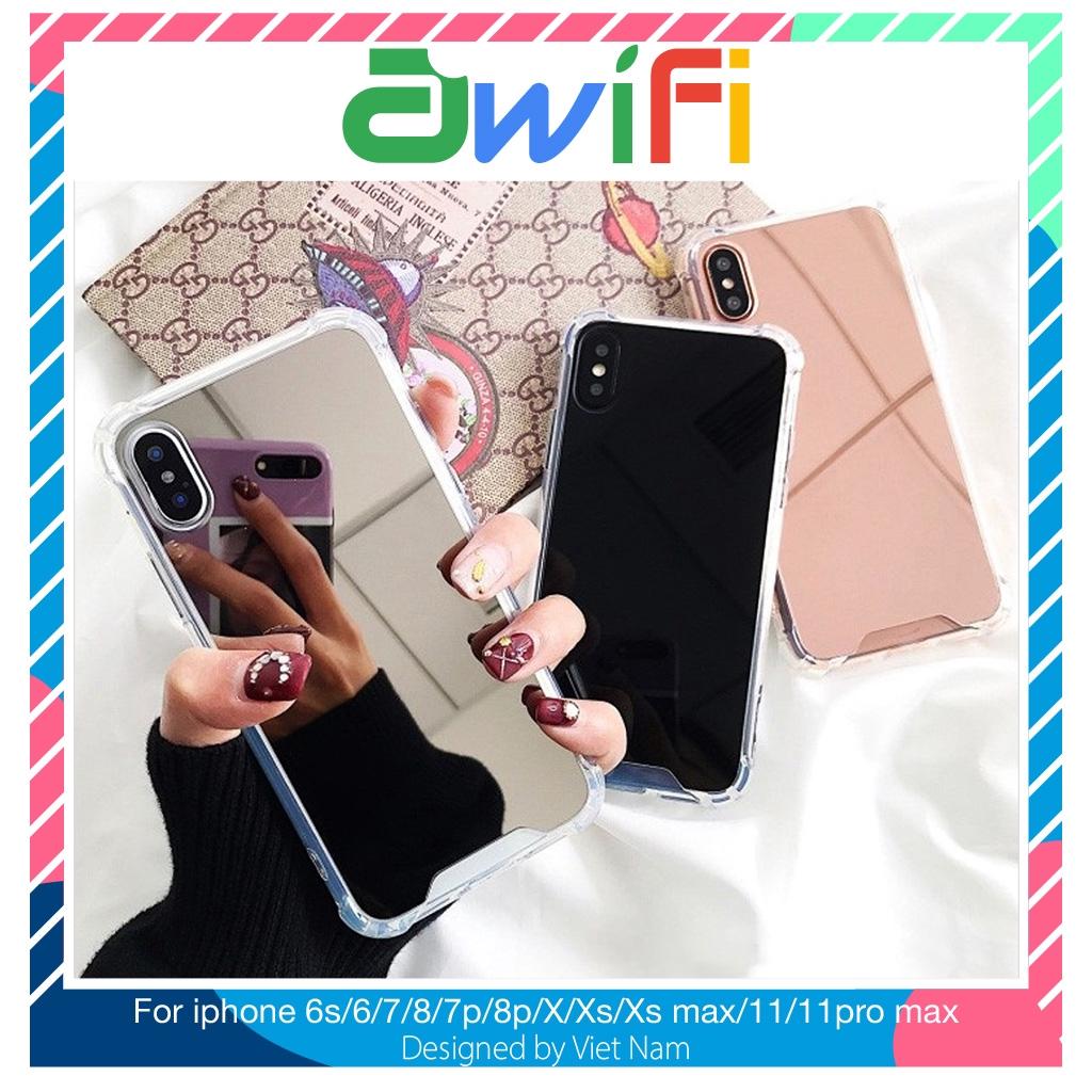 Ốp iphone - Ốp lưng Gương chống sốc 5/5s/6/6s/6plus/6s plus/7/8/7plus/8plus/x/xs/xs max/11/11pro max  - Awifi Case C1-2