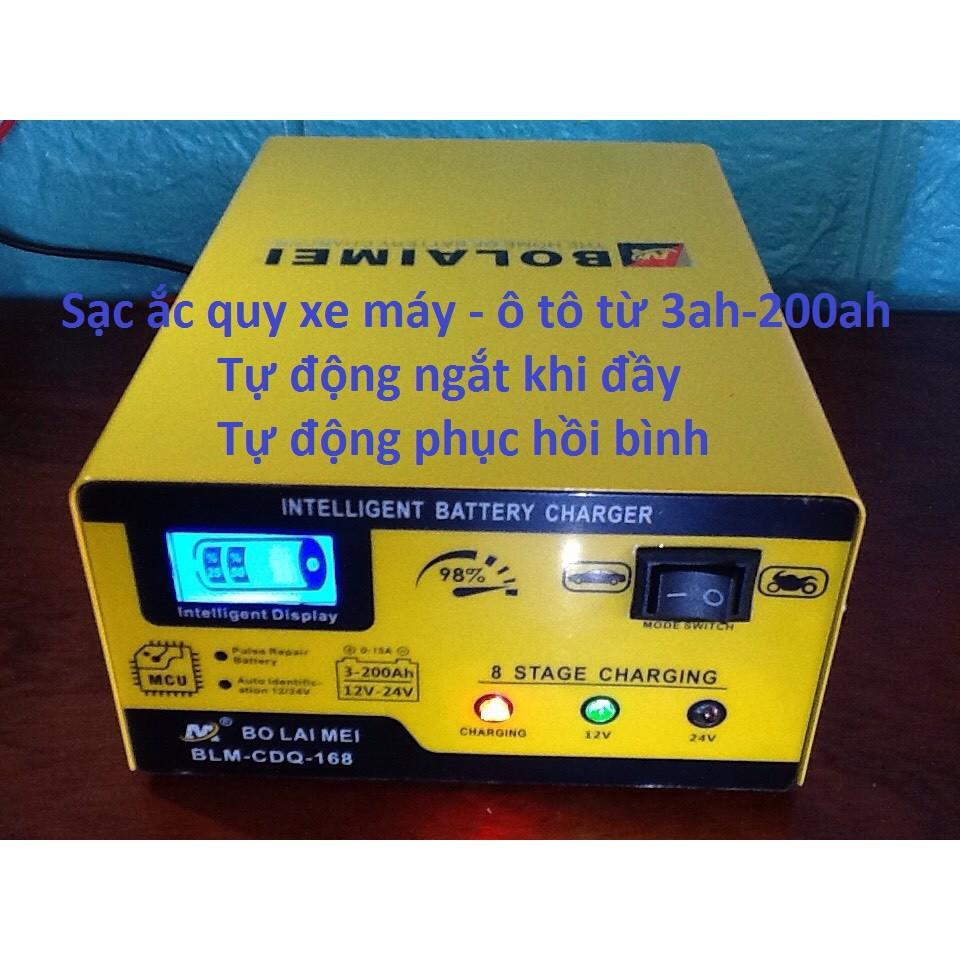 Bộ sạc bình ắc quy 12v 24v - 200ah, mạch sạc acquy tự động ngắt khi đầy.