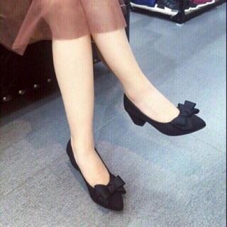 Giày nữ cao gót vuông nơ xinh cao cấp