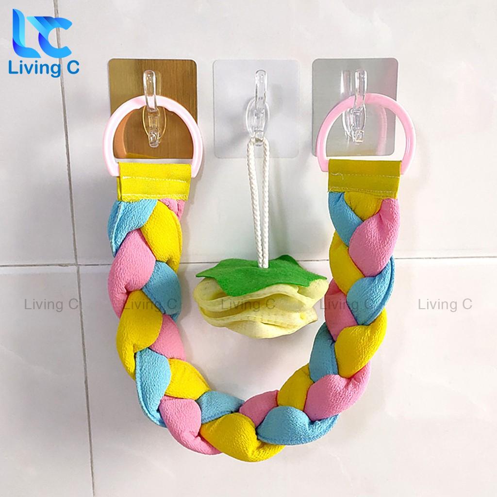 Móc treo quần áo dán tường Living C, Móc dán tường treo đồ đa năng có sẵn keo dán tường _MVB
