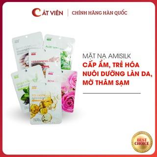 Mặt nạ dưỡng ẩm dưỡng trắng Amisilk, mờ thâm sạm ngăn ngừa nám, tàn nhang, chăm sóc da chuyên sâu Hàn Quốc - 1 miếng