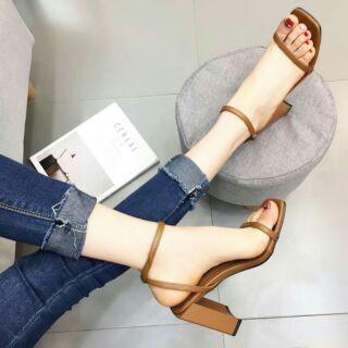 Sandal gót khối vuông quai ngang mảnh quảng châu