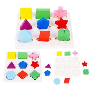 3D Puzzle Wooden Toys Colorful Geometry Shape Cognition Wood Puzzle Children Early Learning Educational Toys