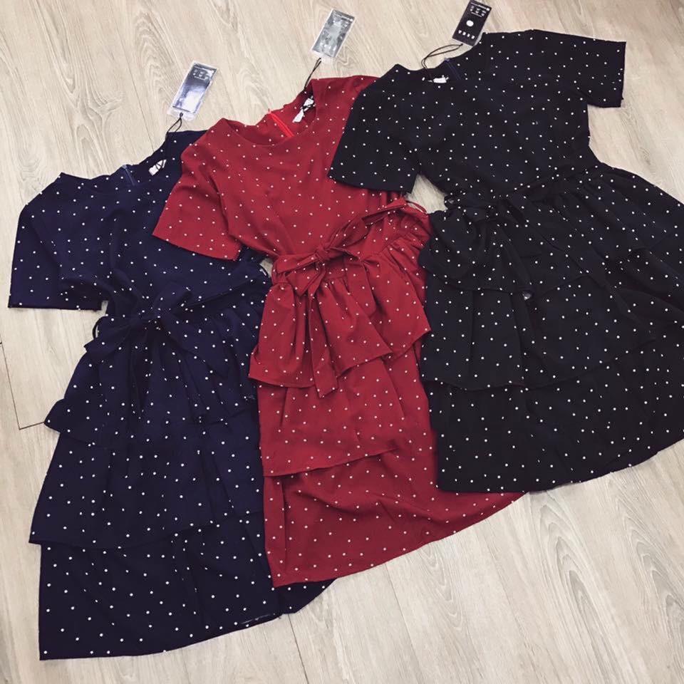 Đầm Xòe Chấm Bi Đủ Màu Cực Dễ Thương