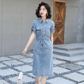 Đầm Jean nữ cao cấp thiết kế hoa cúc phối chữ phong cách, tay áo độc đáo, cách điệu NV0406