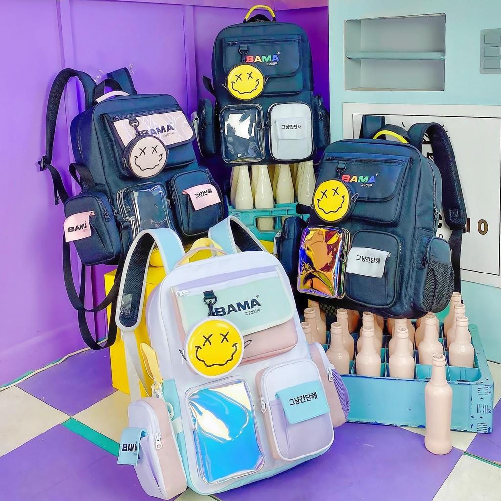 Balo Bama 444 thời trang nam nữ đi chơi đi học giá rẻ đẹp tặng kèm túi chéo và túi tròn BM02