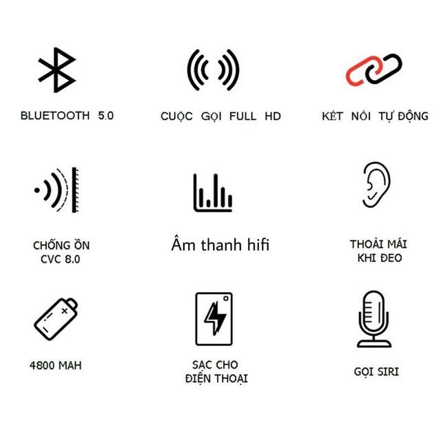 [Mã SKAMA07 giảm 8% đơn 250k]Tai nghe Bluetooth TWS S11   Bluetooth 5.0   Chống nước kiêm sạc dự phòng 4800mAh