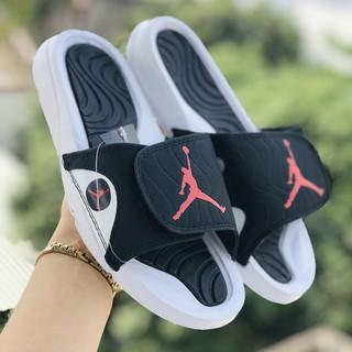 Dép jordan ❤️FREESHIP + HỘP❤️ quai ngang bóng rổ nam nữ jordan JD4 trắng đen logo đỏ có tem mác, bao bì đầy đủ