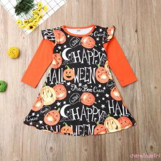 ✦YR-Halloween Toddler Kids Baby Girl Dress Long Sleeve Pumpkin Party Dresses One Piece Costume Clothes