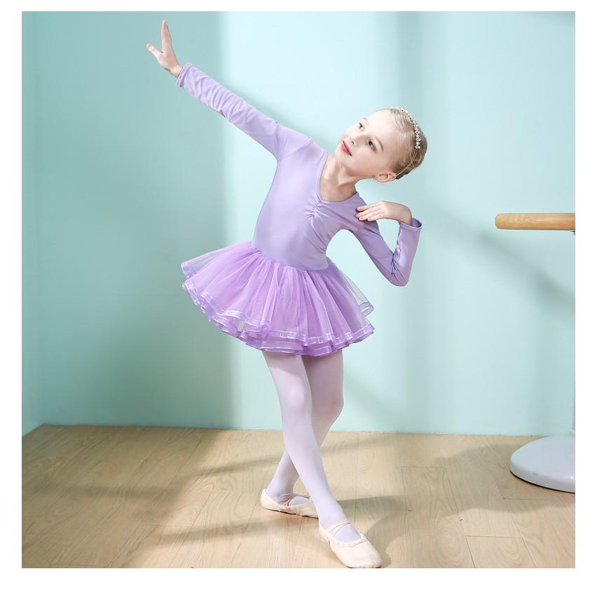 (HOT SALE) Váy múa ballet dài tay váy voan trơn Binnashi CVM0002