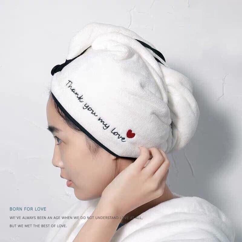 Khăn lau tóc siêu thấm hút màu trắng in chữ Tks My Love cực xinh