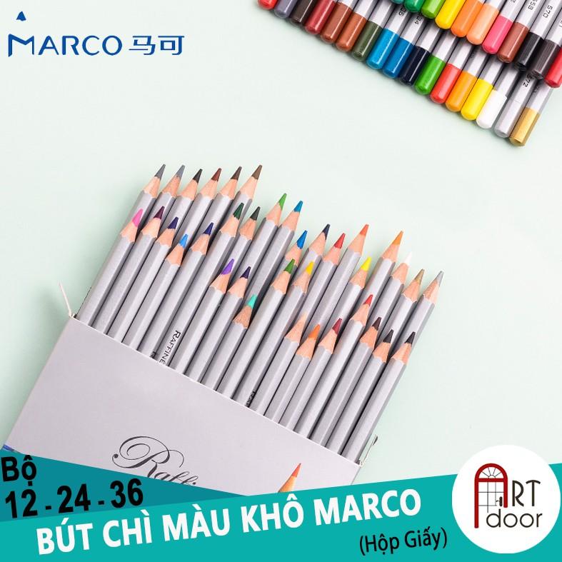 [ARTDOOR] Bộ bút chì màu Khô 12/24/36 MARCO RAFFINE (hộp giấy)