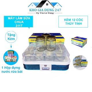 Máy Làm Sữa Chua CHEFMAN Cao CấpHàng Chính Hãng - Bảo Hành 24 Tháng - 12 Cốc Thủy Tinh