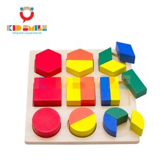 Đồ Chơi Gỗ Ghép Hình Đa Giác Phân Số Montessori (Assembly Geometric Shape Tray)