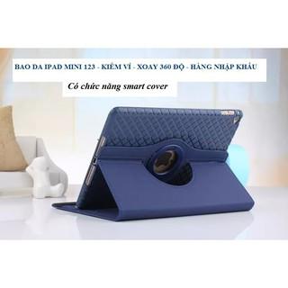 [Đẹp] Bao da iPad mini 123 có ví xoay 360 độ – TẶNG CÁP SẠC IPHONE [Đẹp]
