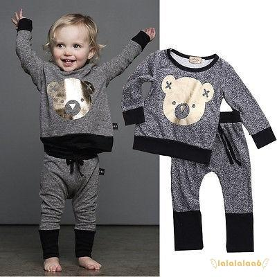 Set áo thun tay dài hình gấu + quần dài đáng yêu cho trẻ sơ sinh