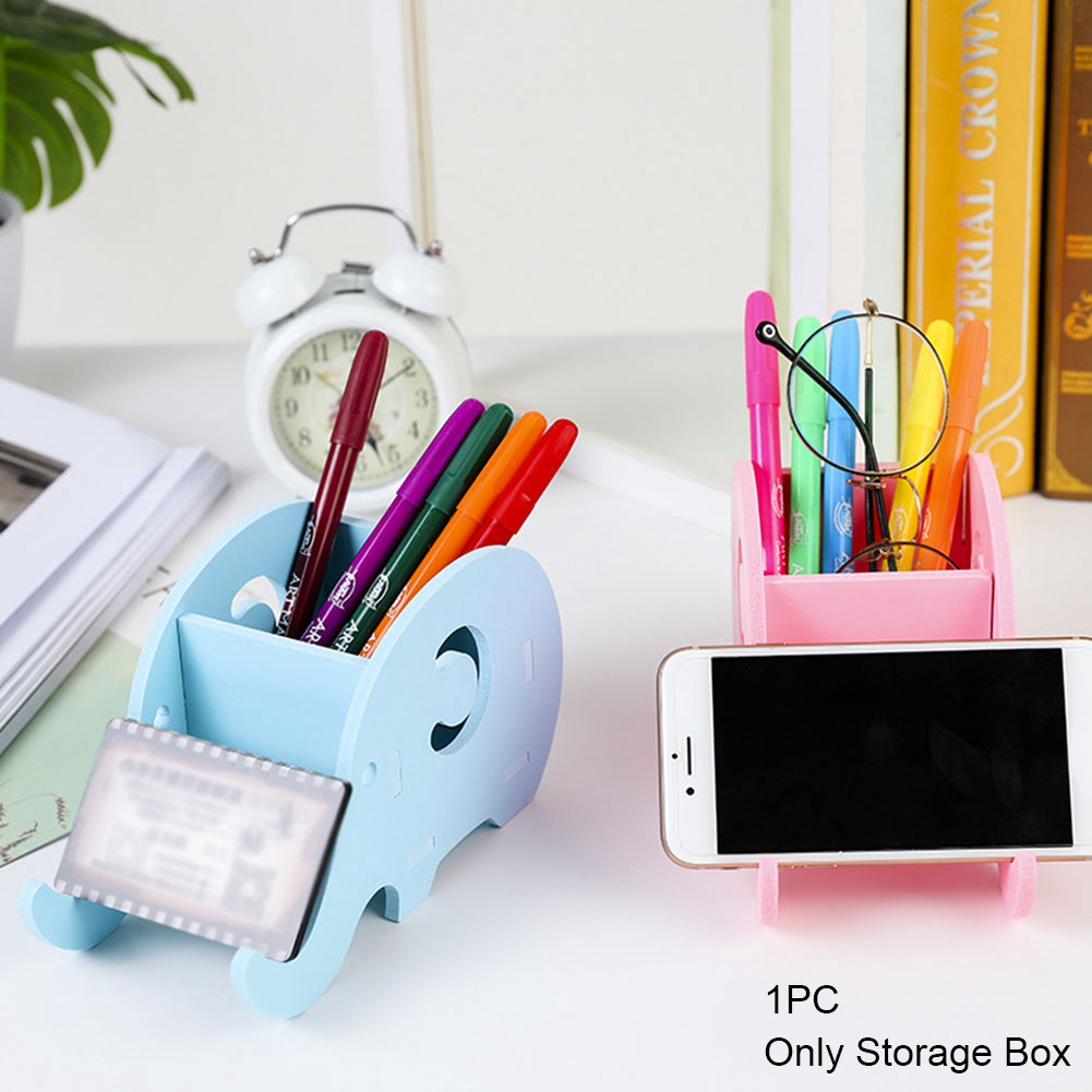 DIY Storage Elephant Shape Home Office Multifunctional Desktop Cute Wooden Container Pen Holder