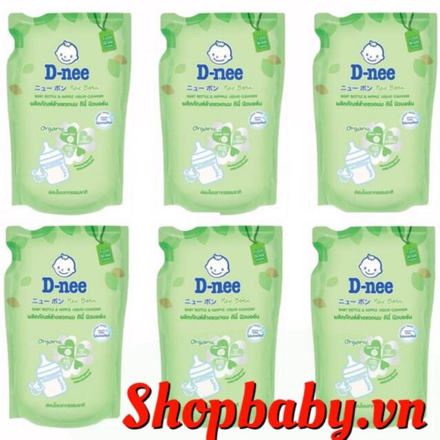 COMBO 5-7 túi nước rửa bình sữa và rau củ Dnee 600ml date mới