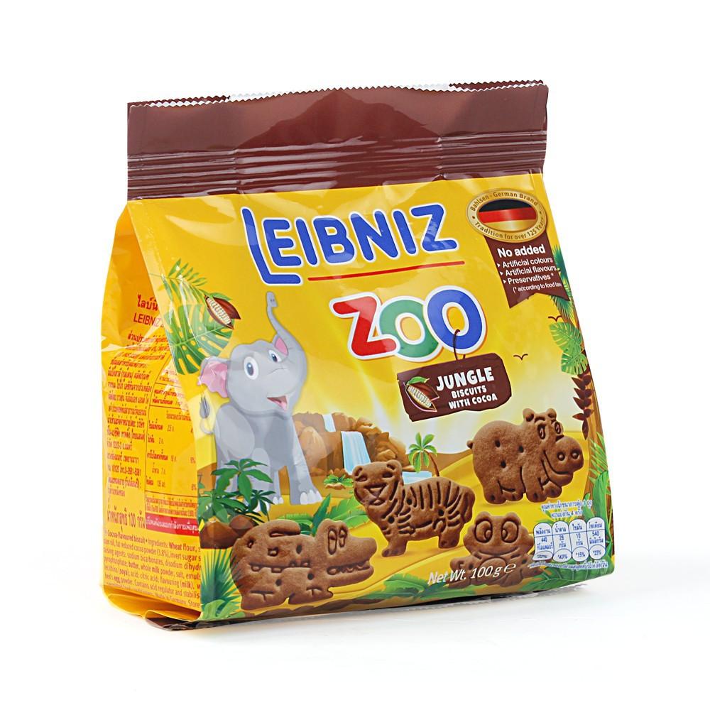Bánh Quy Bơ Hình Thú LEIBNIZ ZOO - Đức 100g vị sô cô la [Giá rẻ nhất toàn quốc]