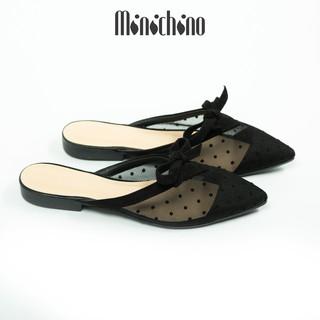 Giày sục nữ MINICHINO mũi nhọn hở gót, chất ren thời trang màu đen TC042 thumbnail